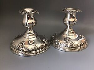 """Vintage - Pair, Grand Baroque (Wallace) Candleholders #4850-9  Sterling  4.75"""""""