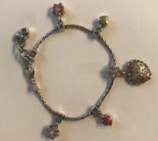 Retired BRIGHTON Flourish Heart Enamel Flower Charm Silver Bracelet