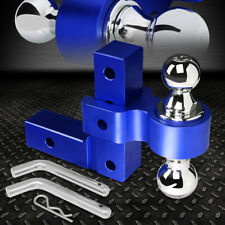 """ALUMINUM DUAL BALL 6"""" DROP ADJUSTABLE TRAILER TOW TOWING HITCH 2"""" RECEIVER BLUE"""