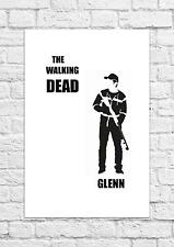 Glenn - The Walking Dead - Simple Black & White Poster/Art - A4 Size