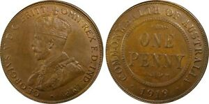 AUSTRALIA  GEORGE V  1926  1 PENNY COIN,  CERTIFIED PCGS XF45