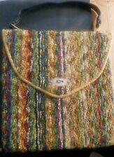 Vintage 60's JERRY TERRENCE Original Multi-Color CARPET BAG Leather  Handles