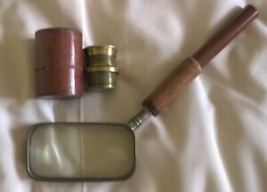 ANTIQUE CASED MICROSCOPE LENS AND FRENCH RECTANGULAR MAGNIFYING GLASS.