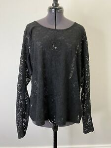 City Chic Long Sleeve Black Lace Sheer Top Size S EUC