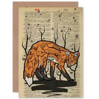 Birthday Upcycle Dictionary Fox Drawing Animal Blank Greeting Card With Envelope