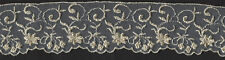 "3&1/2"" Ivory Embroidered Beaded Lace Organza Fabric Trim 10 Yards Embellishment"