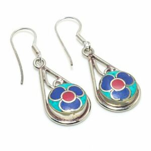 """Tibetan Turquoise, Coral Gemstone 925 Sterling Silver Jewelry Earring 2.17 """" q60"""