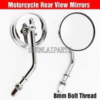 Chrome Round Rear View Mirrors For Harley-Davidson Dyna Softail Bobber Chopper