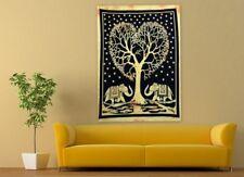 Yellow Elephant Mandala Wall Hanging Hippie Tree Bohemian Cotton Poster Tapestry