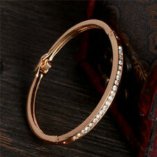 Fashion Gold Plated Stainless Steel Cuff Bangle Jewelry Crystal Women Bracelet
