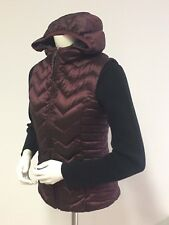 Women's SZ S 6-8 BE BLANC NOIR Puffer Hooded VEST Burgundy Down Feather Fill