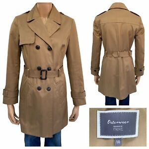 NEXT Outerwear Camel Double Breasted Trench Coat Size 10 UK