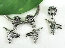 2 pc Charming Tibetan Silver Humming Bird Dangle Charms for European Jewelry USA