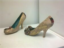 IRREGULAR CHOICE Beige Suede Angels Bow Front Court Shoes  - size  40 / 7 UK
