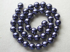 Shell (Gemstone) 10 mm Faceted Round Beads Purple/Blue- Full Strand