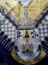 Michel Delain of Paris Navy&Gold LABORE-OMNIA-FLORENT Nautical Silk Twill Scarf