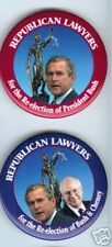 2 pins Republican LAWYERS reelection  BUSH + CHENEY 2004 CAMPAIGN pinback button