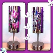 **special**1x Purple Butterfly Bedside Touch Lamp+one  Bulb