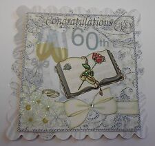 PK 2 HAPPY 60TH WEDDING ANNIVERSARY EMBELLISHMENT TOPPERS FOR CARDS OR CRAFTS