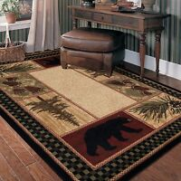 2X3 Bear Paw Pinecone Pine Tree Black Red Green Beige Lodge Cabin Area Rug