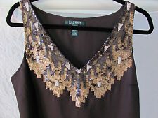 Ralph Lauren Sleeveless V-Neck Top/Shell- Sequins - Brown -Size 14 -NWT $159