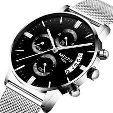 Herren Armbanduhr Quarz Edelstahl Analog Uhr 3ATM wasserdicht Chronograph Datum