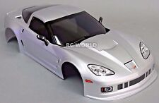 1/10 RC Car BODY Shell CHEVY CORVETTE 190mm  w/Light Buckets SILVER -FINISHED-