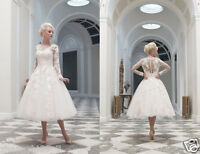 New White/Ivory Lace Short Wedding Dress Bridal Gown Stock Size 6/8/10/12/14/16