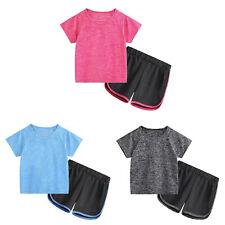 Kinder Mädchen Sportanzug Trainingsanzug Jogginganzug Kurzarm T-Shirt+Laufshorts