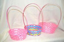 3X PINK Plastic BASKETS Basket Party STACK Centerpiece Wedding EGGS Flowers Blue