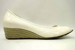 Cole Haan Air Ivory Patent Leather Peep Toe Espadrille Wedge Shoes Women's 9 B