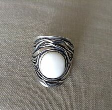OR PAZ ISRAEL Hallmarked Sterling Silver White Cabochon Agate Ring sz 5 1/4