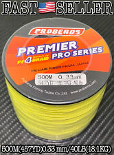 500M Braided Fishing Line 4 Strands Multifilament Pe Saltwater Line 40lb Yellow