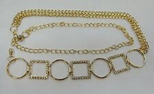 Gold Chain Metal Belt Rhinestone Crystal ONE SIZE