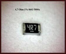 Smd résistance 4,7ohm 4r7 0603 1% 100mw 75v 5000 pièces