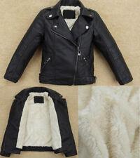 Kids Boys girl Warm Cool Biker Coat Thick Leather jacket fleece lined Outerwear