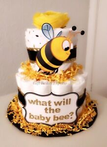 Bumblebee Gender Reveal Diaper Cake - What Will The Baby Bee? - Baby Shower Gift