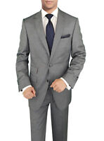 Signature Italian Wool Silk Mens Suit Gray