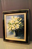 Tableau encadré signé Patrigeon huile sur toile Nature Morte au bouquet de lys