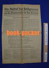 Original Flugblatt (1918): EIN AUFRUF DER FELDGRAUEN AN DIE KAMERADEN DER HEIMAT