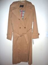 NWT Damo Donna Outerwear Tan & Plaid Classic Trench Coat 8/10
