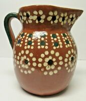 Tlaquepaque Mexican Redware Red Clay Pottery Pitcher Hand Made 1 Gallon