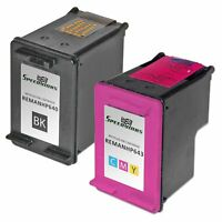 Reman replacement for HP 60 Set of 2 Ink Cartridges: 1 Blk CC640WN 1 Clr CC643WN