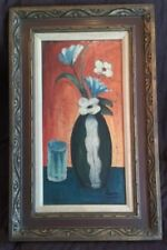 Mid Century Oil On Canvas Abstract Still Life Floral Painting- Signed -Eames Era