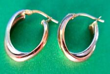 14K Gold Rose & White Gold Pair of Hoop Earrings Hallmarked Italy