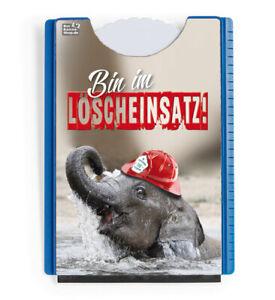 """Stabile Motiv Parkscheibe Elefant Feuerwehr """"Löscheinsatz"""" Eiskratzer Gummilippe"""