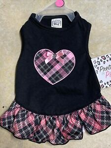 SIMPLY WAG Black with Pink Plaid HEART and Skirt Dress Puppy/Dog xsmall