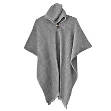 SOLID GRAY LLAMA WOOL MENS HOODED PONCHO CAPE COAT JACKET CLOAK HANDWOVEN JEDI