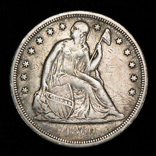 1860-O $1 SEATED LIBERTY SILVER DOLLAR, VF+ DETAILS LOT#T807