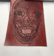 Vinyl Fabric Skull Design Red Upholstery Textured-faux Leather by The Yard